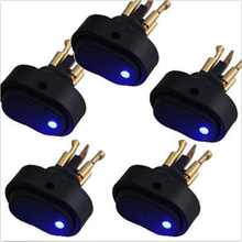AUTO 5pcs Car Accessories 12v 30A Round rocker arm with blue LED light On / Off