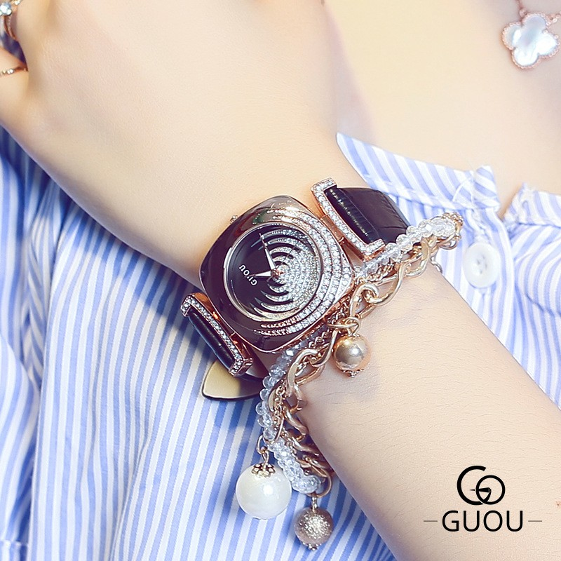 Prix pour GUOU De Mode Bling Strass Montre Rose Montre En Or Femmes Montres Véritable En Cuir Horloge bayan saat relogio feminino reloj mujer