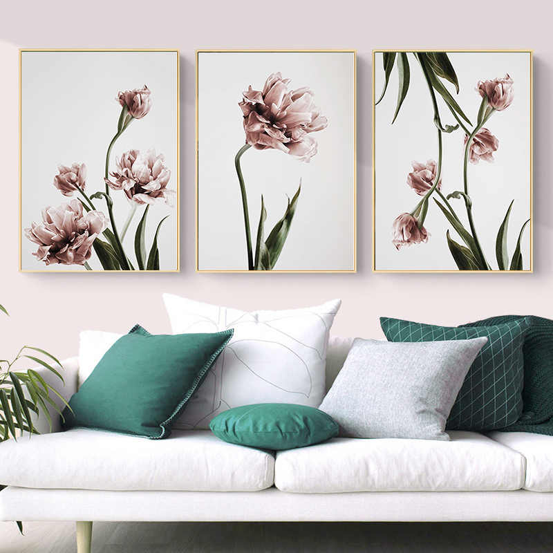 Modern Tulip Flower Prints Wall Art Canvas Paintings Floral Poster Scandinavia Pictures for Living Room Bedroom Home Decorative