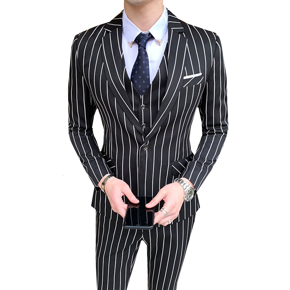 3PC Suit Men Korean Autumn Slim Fit Costume Homme Quality Business Formal Groomsmen Casual Tuxedo Striped Wedding Dress Suits
