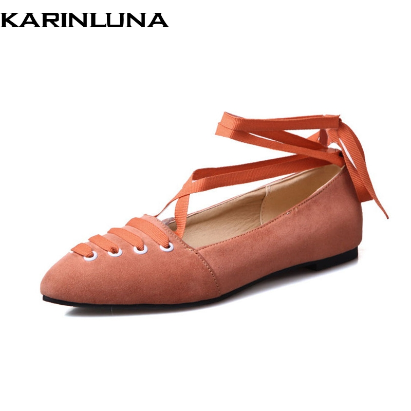 KARINLUNA 2018 Spring Summer Big Size 34-43 Shallow Ballet Flats Women Sweet lace-up Shoes Woman Women Casual Shoes plus size 34 43 new platform flat shoes woman spring summer sweet casual women flats bowtie ladies party wedding shoes