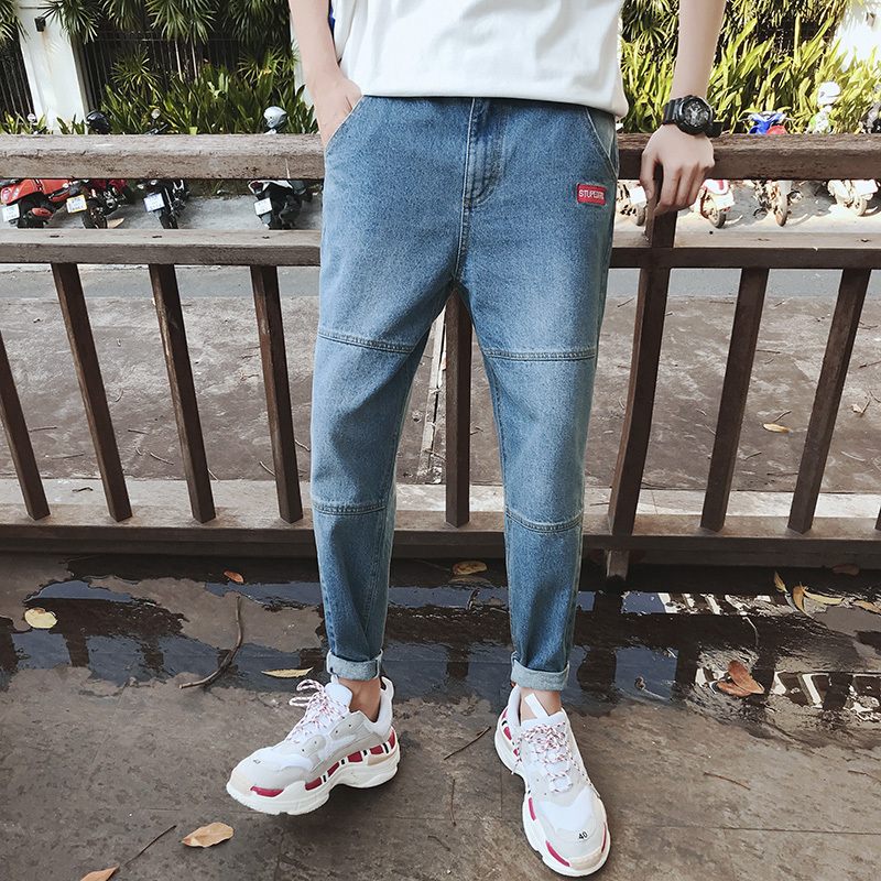2018 New Men Fashion Casual Stretch Slim Fit Jeans Homme Denim Pants Wash Blue Small Straight Leg Cowboy Haren Trousers M-2XL