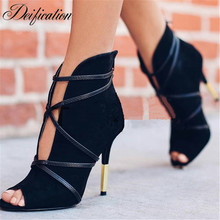 Deification Sexy Peep Toe Black High Heels Narrow Band Ankle Boots Nubuck Leather Ladies Party Dress Shoes Zapatos Mujer 2018
