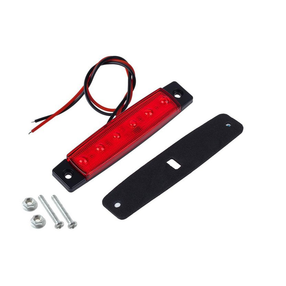 6LED 24V Car Truck Bus Trailer Side Marker Indicators Brake Signal Lamp (Red)