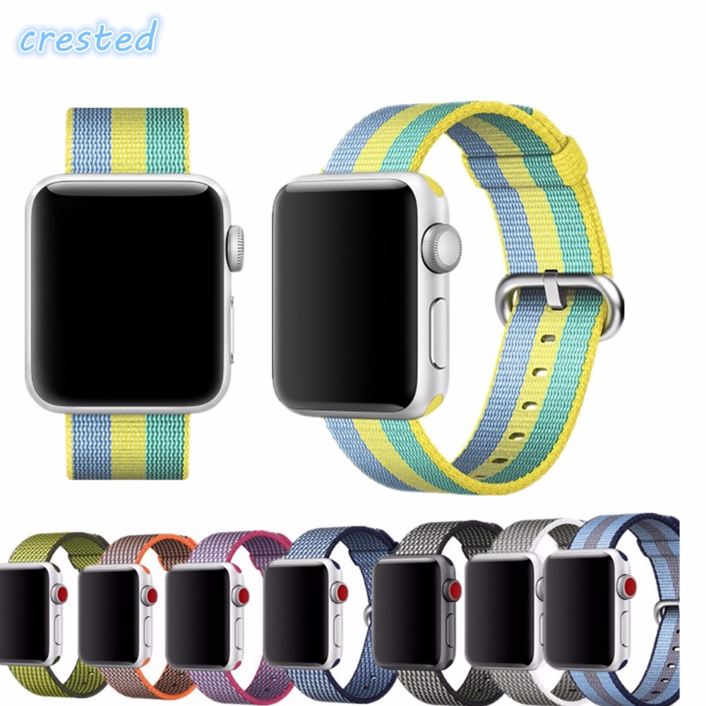 все цены на CRESTED Woven Nylon band For Apple Watch 3 42mm 38mm iwatch serise 3 2 1 Durable nylon wrist watchband bracelet fabric-like feel онлайн