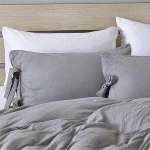 Image 2 - Funda de edredón gris de estilo moderno y Simple, juego de cama con lazo, suave y sedoso, transpirable, de lino, Queen y King