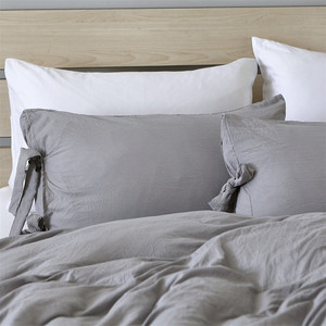 Image 2 - Modern Simple Style Gray Duvet Cover Cute Bowknot Bedding Set Silky Soft Breathable Bed Linen Twin Queen King