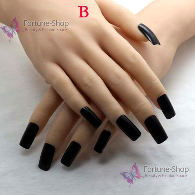 Tkgoes 20pcs Acrylic Fake Nails Black Nail Tips Plastic False Half French Art