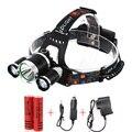 Portátil 3 LED Faróis T6 + 2 * R2 Cabeça lâmpada de Luz 4 modos de Bicicleta Da Bicicleta Da Equitação Do Hight Power LED Farol + Carregador + Baterias