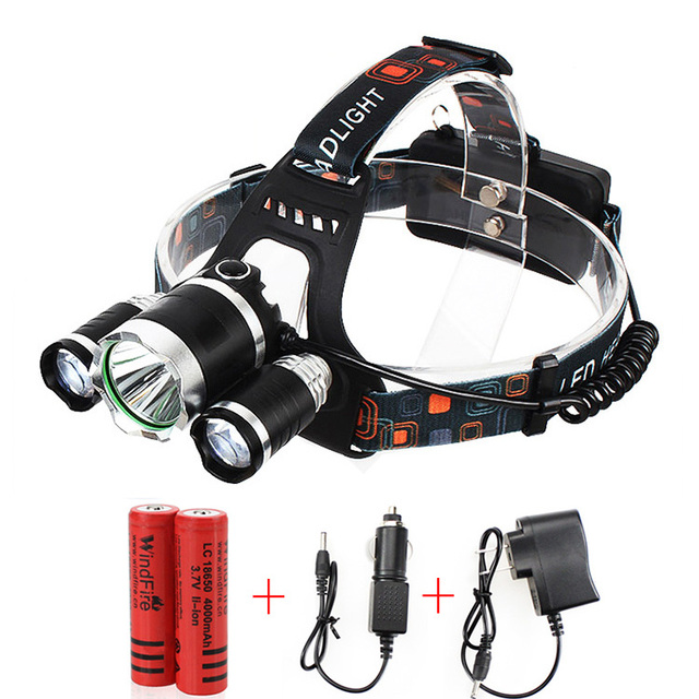 Portable 3 LED Headlamps T6 + 2*R2 Head lamp Light  4 Modes for Bicycle Riding Hight Power LED Headlamp + Charger+ Batteries