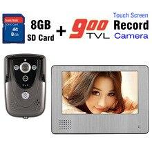 Venta al por mayor de vídeo Intercom 7 pulgadas pantalla táctil 8 GB tarjeta SD Video puerta timbre del teléfono IR cámara de visión nocturna de interfono por cable