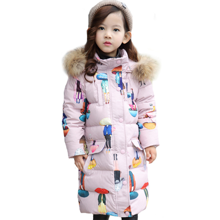 2017 New Print Thick Winter Long Hooded Boys Winter Jacket Coat White Duck Down Girls Winter Clothes Baby Boys Coat Warm Jacket