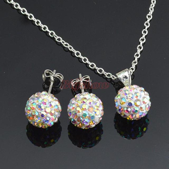 Shamballa stud Earrings Necklace Set Wholesale Fashion Jewelry crystal rhinestone AB white