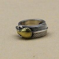Takahashi Kagura Goro Handmade Gold Feder Thai Silber Ring Temperament 925 Sterling Silber Schmuck Männlichen Retro Ring