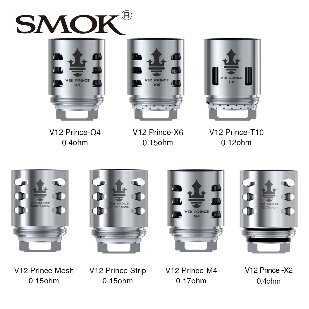 100% Original 3pcs SMOK TFV12 PRINCE Replacement Coil Q4/X6/T10/M4/Dual Mesh/ Max Mesh/Strip Coil for Tfv12 Prince Tank Atomizer недорго, оригинальная цена