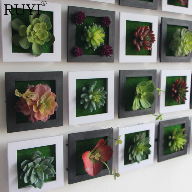 White creative 3d metope succulent plants imitation wood for Artificial plants for decoration