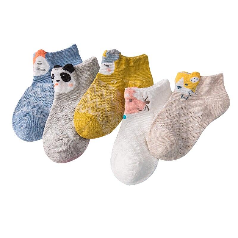 5 Pairs/lot Children Socks Boy Girl Cotton Fashion Breathable Mesh Socks Spring Summer High Quality 1-12T Kids Birthday Gifts CN