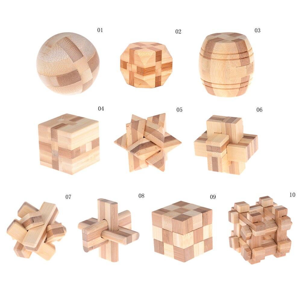 Wooden Kong Ming Lock Kids Children 3D Handmade Wooden Toy Adult Brain Teaser RD