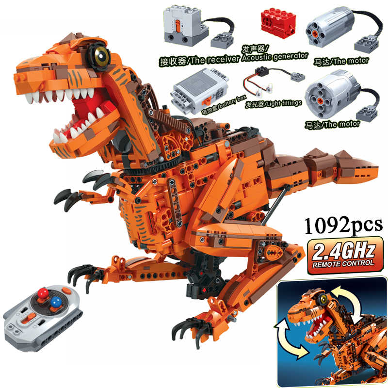 MOC Dinosaurs Animals Remote Control 2.4GHz Technic with Motor Box 1092pcs Building Blocks Bricks  Creator Toys for Kids
