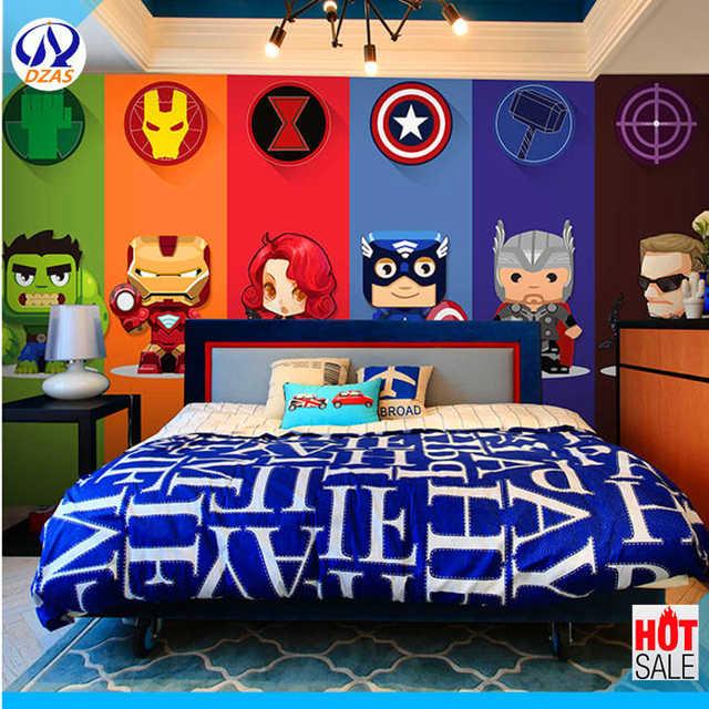 Dzas 3d Cartoon Superman Avengers Marvel Wallpaper Children S Room