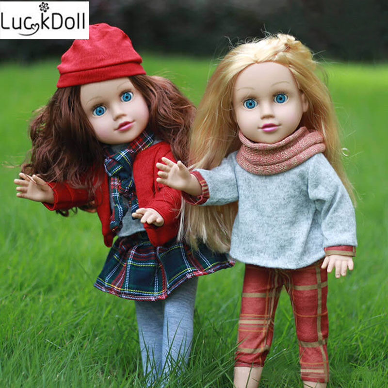 Luckdoll ZWSISU Новый блондинка/коричневые волосы кукла + платье костюм 45 см настоящая детская игрушка подарок на день рождения для куклы американ...