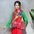 Старинные Китайские Цветы Печати Свободные Хлопок Белье Рукавов Куртка Женщин Осень Весна Случайный Большой Размер Верхней Одежды Пальто Мыса Новый