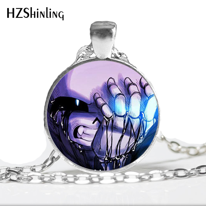 NS--723 Undertale Game Gamer Gaming Necklace Ghost pendant Video Game Necklace Glass Cabochon Necklace Art Gifts HZ1(China)