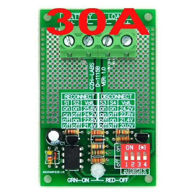 Módulo de Desconexión por bajo Voltaje LVD, 24 V 30Amp, sobre la base de MCU y MOSFET.