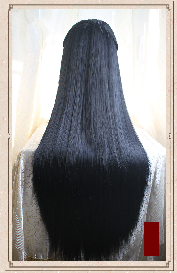 Kids Costumes & Accessories 80cm Black Long Vintage Hair Chinese Ancient Dynasty Hair Cosplay Ancient Chinese Hair Anime Long Hair Warrior Cosplay Novelty & Special Use