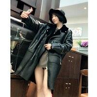 Зима 2018 Для женщин овечья шерсть куртка ягненка шубу Кожаные куртки Shearling Jacket плюс Размеры зимняя куртка Для женщин