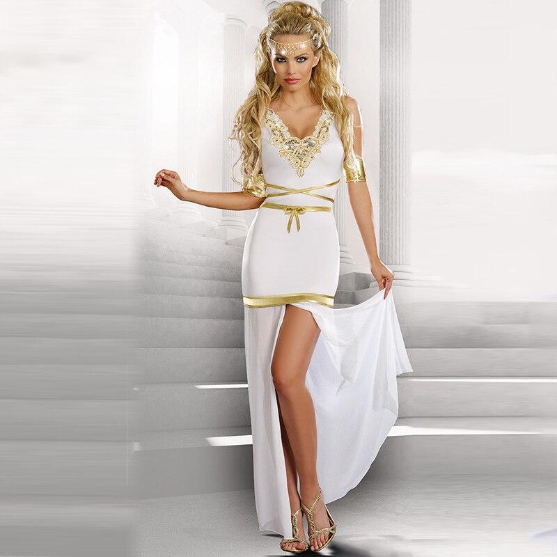 Greek Goddess Cosplay Women Sexy Deep V-neck Short Sleeve Split Lace White Halloween Costumes For Women With Belt Arm Wear