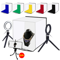 PULUZ 30cm Photo Softbox Portable Folding Studio Shooting Tent Box + 4.6 inch Ring LED Light Kits with 6 Colors Backdrops