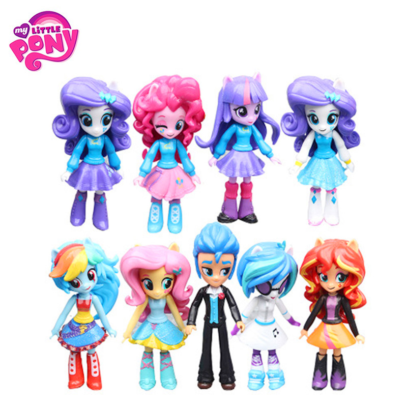 9pcs/Set 11.5cm-13cm Hasbro My Little Pony Toys Friendship Is Magic Pony PVC Action Figures Set Collectible Model Doll Dolls