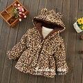 Venta caliente! 2015 nuevo abrigo de invierno niños niñas gruesa chaqueta del leopardo del bebé mantienen la capa caliente para 0-1-2-3-4 1-3 años de edad