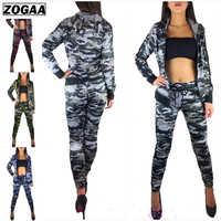 ZOGAA 2 Stück Frauen Set Camouflage Training Anzug Fitness Hose Jacke Frauen Outfits Hoodie Top Und Hose Trainingsanzug Frauen Sets
