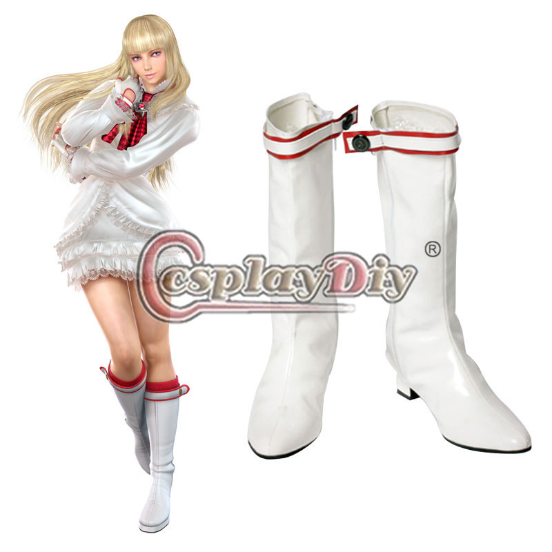 Tekken Lili Rochefort Cosplay Shoes White Girls Boots Adult Carnival Party Cosplay Boots Custom Made