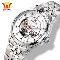 Automatic Skeleton Diamond Watch Women Silver Stainless Steel Mechanical Ladies Wrist Watches Ouyawei reloj mujer montre femme