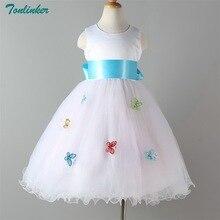 Tonlinker 2018 New Ribbon Bow White Flower Girl Tutu Dress For Birthday Photo Wedding Party Festival Girls Dresses 3Y-12Y