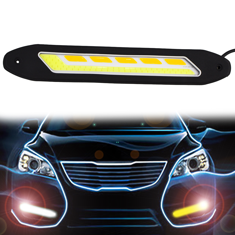2PCS Flexible Waterproof White and Yellow Car Head Light COB LED Daytime Running Lights DRL Fog Lights With Turn Signal Light CJ flexible bandable straight line cob drl daytime running lights dc12v 16w high power white e4 waterproof car fog lights