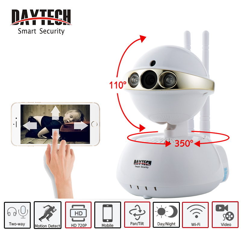 DAYTECH Wireless IP Camera WIFI Smart Surveillance Security Mini Baby Minitor 720P Night Vision Two way Audio DT-C104-720P smart mini camera wifi support two way audio night vision sd card onvif motion detect camera with wifi for home security