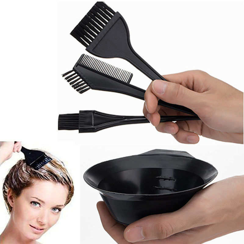 4 Pcs/Set Large Size Professional Salon Hair Dye Set Quality Hair Color Brush Comb Mixing Bowl Tint Tool Headed Brushes Set