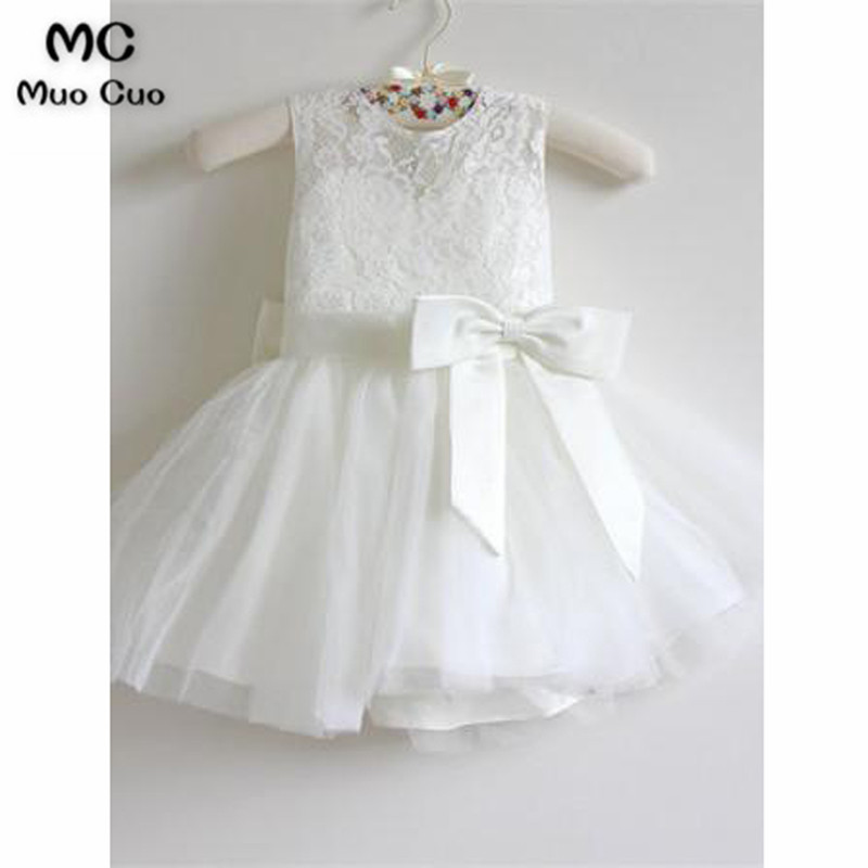 Lovely 2018 Ball Gown first communion   dresses   for   girls   Lace Bow Ribbon kids evening gowns   flower     girl     dresses   for weddings