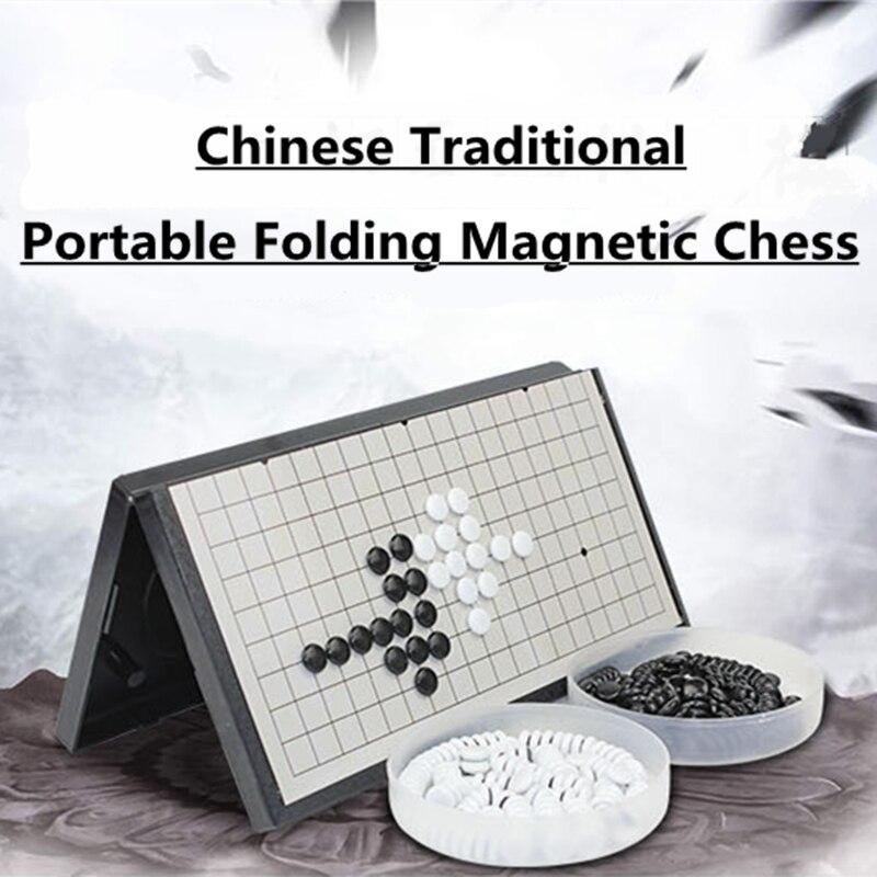Új érkezések Folding Portable Gomoku Gobang utazási sakk játéktábla Mágneses Baduk mágneses ajedrez készlet szórakoztató alkatrészek