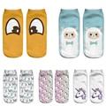 2016 Eye Emoji 3D Socks Women Harajuku Cartoon Cute Animal flamingo Sheep Ankle Soks Unicorn Printing Kawaii Licorne Girls Socks