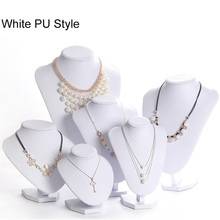 White PU Model Bust Show Exhibitor 6 Options Gray Black White Velvet Jewelry Display Necklace Pendants Mannequin Jewelry Stand недорого