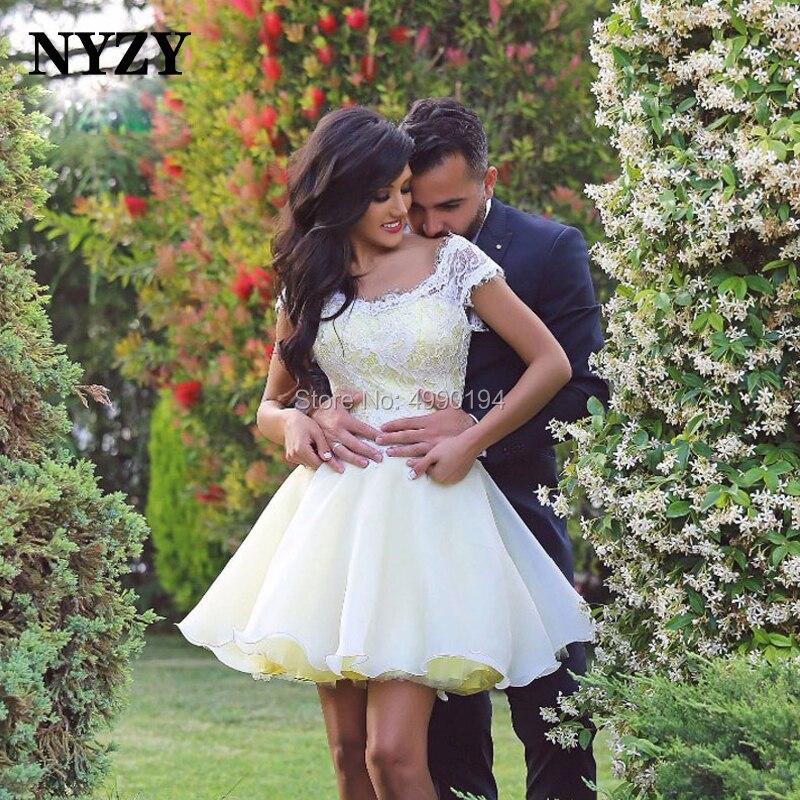 NYZY C149 blanc jaune court Mini Organza Robe de soirée de mariage Robe de soirée Dubai arabe robes de Cocktail 2019
