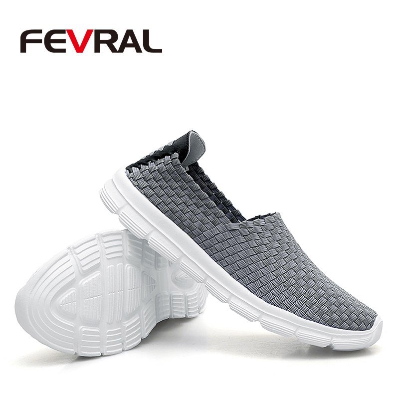 Image 4 - FEVRAL Brand Summer Breathable Men Casual Shoes Slip on Loafers High Quality Handmade Woven Shoes Men Soft and Lightweight FlatsMens Casual Shoes   -