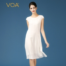 VOA Brand 2017 New Summer Knee-Length White Womens Silk Dresses Short Sleeve Solid Brief A-Line Vestido Female A7106
