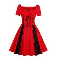 Plus Size Gothic Dress Retro Robe Femme Lace up Bowknot Vintage Hepburn Rockabilly Vestidos 50s Swing Pleated Casual Women Dress