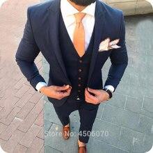 Navy Blue Casual Men Suits Business Slim Fit Wedding Tuxedos Groom Wear 3PCS Jacket Pants Vest Bridegroom Costume Homme